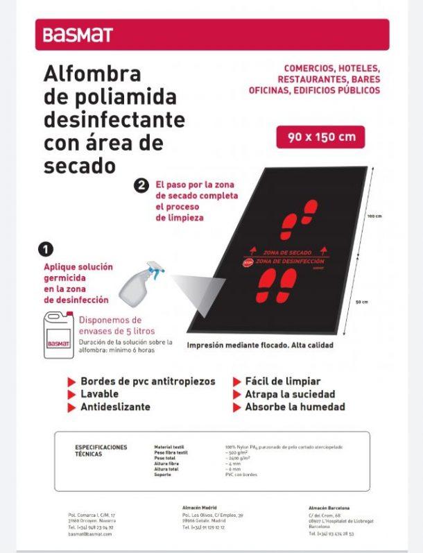 BASMAT Alfombra de Poliamida desinfectante con área de secado